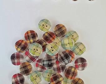 Tartan Buttons x 10
