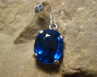 A+ Faceted Kyanite Pendant in Sterling Silver