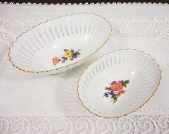 Vintage MPM Reine German White Oval Bowls with Floral Centers, 24k Gold Trim