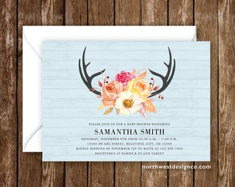 Fall Baby Shower Invitation Blue Orange Red Fall Invitation Antlers Autumn Invite Rustic Wood Shower Invite 5x7 Digital File or Printed