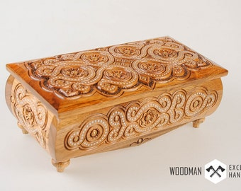 Wooden jewelry box Handmade Carved box Wooden box Jewelry box Walnut Ukrainian wood box Jewelry storage Jewel-case Gift for her [WD-243]