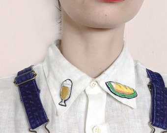 TCHIN Duo of pins embroidered in collaboration with Deborah mustard, fun pins
