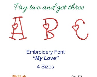 Embroidery design font my lover