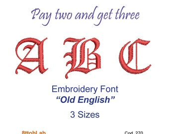 Embroidery design font old english