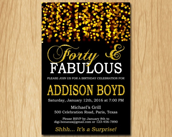 Forty and fabulous birthday invitation gold birthday party invite il570xn filmwisefo Image collections
