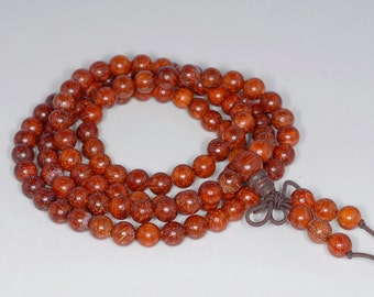 6mm 108PCS Natural Red Rosewood Prayer Buddha Mala Meditation Beads Round Loose Beads (80000493-289)