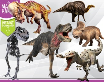 Dinosaurs Clipart - Digital 300 DPI PNG Images, Photos, Scrapbook, Digital, Cliparts - Instant Download