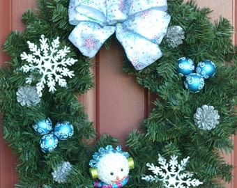 Blue and White Winter Wreath