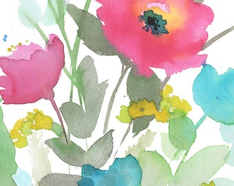 Watercolor Poppy, watercolor floral, floral decor, floral wall art, wall decor