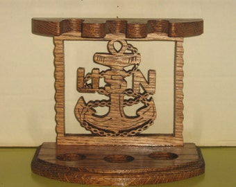 Handmade Navy Smoking Pipe Stand