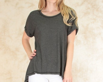 Casually Cute Hi-Low Contrast Stitch Tunic Top