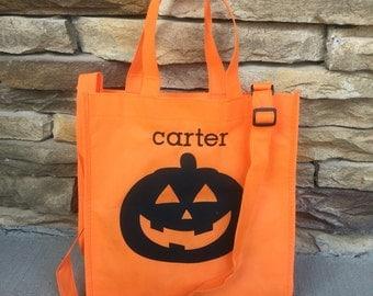 Monogrammed Halloween Tote / Trick or Treat Bag Cross-Body Tote