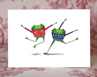 Frogs in Festive Jumpers Christmas Card