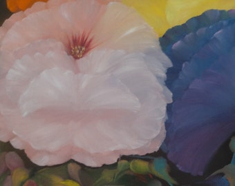 Floral Oil Painting  - An Original Floral Oil Painting by Wendy Margrave - Full Bloom