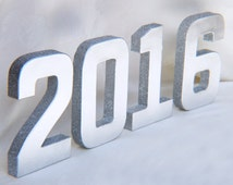 Paper mache silver glittered numbers graduation party - 2016, graduation  Decorations, paper mache numbers