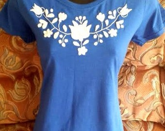 Hand embroidered cotton blue women T shirt/top  All size