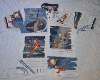 Mens XL Vintage VTG Disney Tigger All Over Print Short Sleeve Golf Polo Shirt Cotton