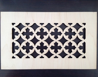 Decorative vent cover, HVAC register, Laser cut maple veneer