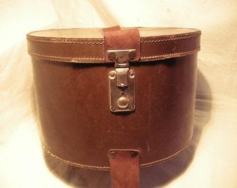 Vintage Dark Brown Hatbox