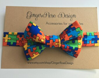 Autism Awareness Bow Tie; Puzzle Bow Tie; Toddler Bow Tie; Boy's Bow Tie; Baby Bow Tie; Adjustable Bow Tie