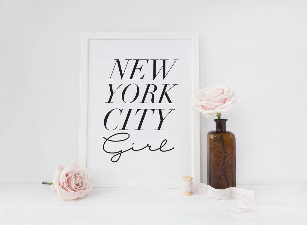 Typography print new york city girl wall decor for New york city decor