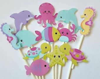 Under the sea cupcake toppers- set of 12, girly under the sea, crab, dolphin, seahorse whale, turtle, food picks, under the sea party
