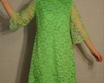 1960s Neon Lace Dress