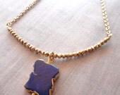 Lapis Lazuli Necklace / Gold Lapis Slab Pyrite / Lapis Gold Edge Slab Necklace / Blue Stone Gold / GP20