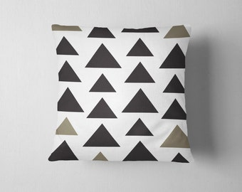 Simple black and sage geometric triangle throw pillow
