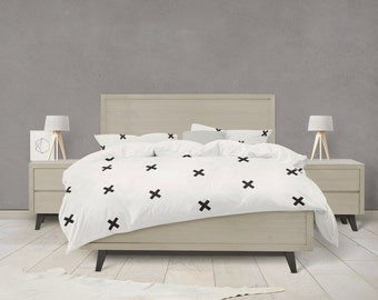 Black and white cross pattern duvet cover