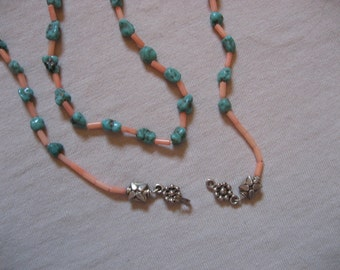 Arizona Turquoise Nuggets and Pink Coral, Sterling Silver