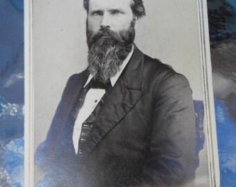 Antique Cabinet CDV Card Photo Man Beard M J Bixby Poultney Vt Lot of 4