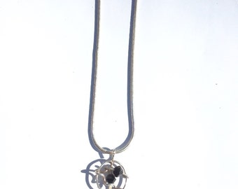 """Sterling Silver Snake Chain & Black Crystals Charm -17.5"""""""