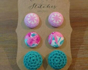Button Earrings ~ Crochet Earrings ~ Ladies Earrings