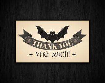 10-Creepy Gothic Bat Horror Thank You Cards Christmas Gift