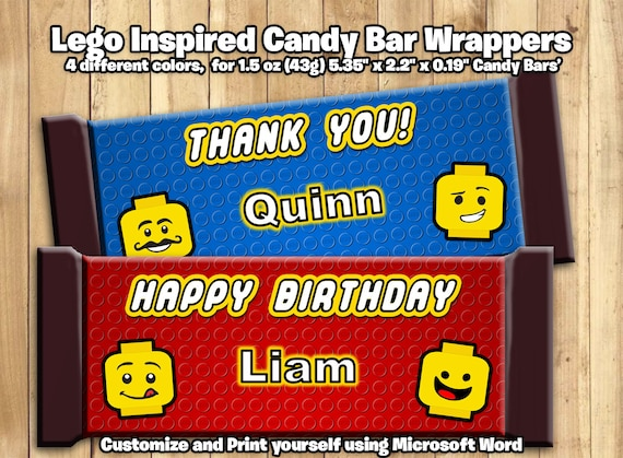 Lego Inspired Candy Bar Wrappers - Customize Print - Lego Chocolate Bar Wrappers wrappers 1.5oz 43g Lego candy bar wrappers