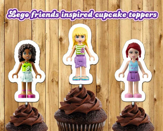Lego Friends Inspired Cupcake Toppers Lego Friends Cake Toppers Lego Friends Birthday Decoration Lego Friends Cupcake Toppers