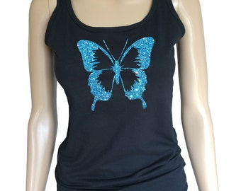 Ladies amazing black Tank Top with glitter butterfly. So sparkling you must have it!