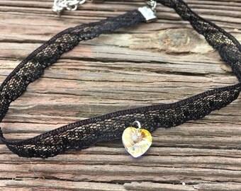 Black Lace and Swarovski Heart Choker