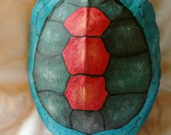 "Hand Painted Turtle Shell Rattle, ""Turtle Island"""