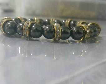 Hematite stretch beaded bracelet
