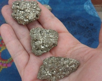3 pc Medium Pyrite Chunks Iron Ore Science Discovery Gift Reiki Fool's Gold Minerals Bulk Crystals