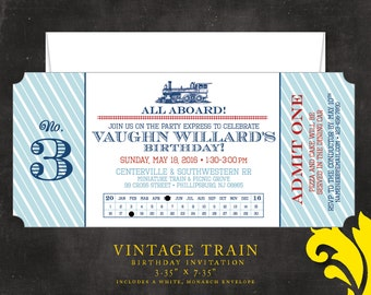 VINTAGE TRAIN . birthday invitation