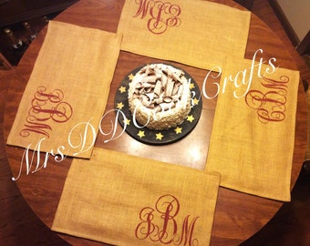 Burlap Placemats, Monogrammed Placemats, Monogram Placemat, Burlap Placemat, Placemats, Rustic Placemats, Rustic Wedding, Table Linens,