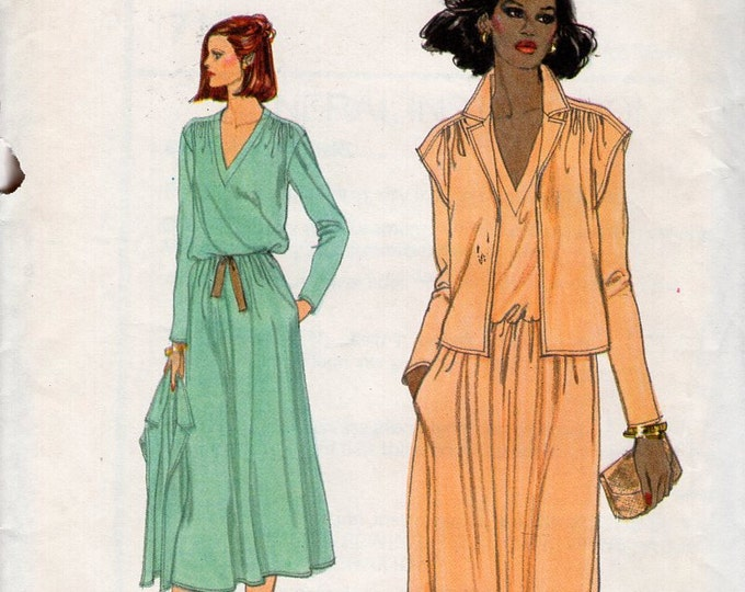 Free Us Ship Sewing Pattern Vogue 7153  Vintage Retro 1970s 70s Loose Fitting Pullover Dress Jacket Size 10 Bust 32.5 Uncut