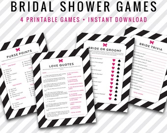 INSTANT DOWNLOAD: Bridal Shower Games Four Pack - Black and pink stripes with bow  - DIY Printable party games