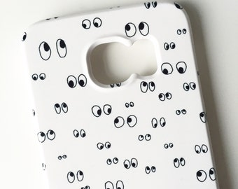 Googly eyes phone case / doodle phone case / eye iPhone 6 case / iPhone 6 / iPhone 5/5S, 5C / Samsung Galaxy S6 / FREE UK SHIPPING