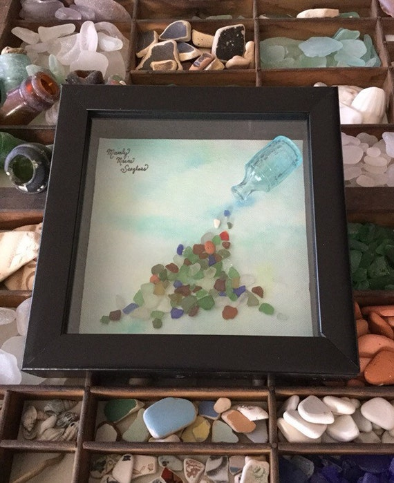 Beach Theme Home Decor Shadow Box Beach Gift: Treasures Framed Sea Glass Art Nautical Home Décor