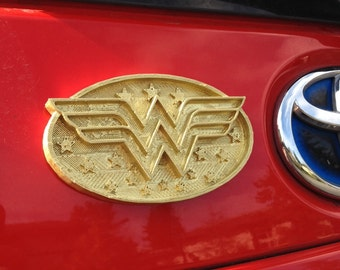 Fanart 3D printed gold Wonder Woman car decal/logo/magnet, great gift for nerd girl or boy