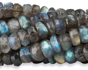 15 1/2 IN Strand 6-7 mm Labradorite Rondelle Faceted Gemstone Beads (LB100103)